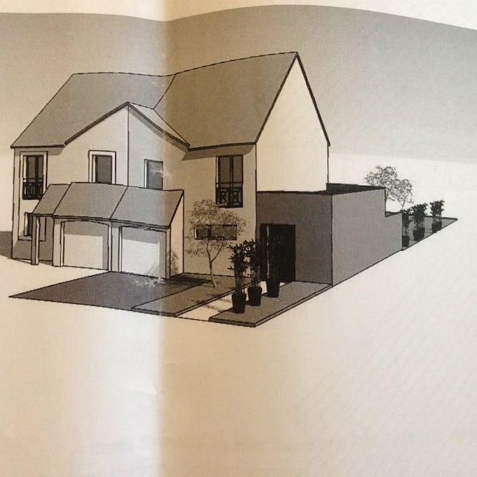 Maison côté rue avec 2 extensions  Superficie de 144,56m2, jardin de 300m2 et terrasse de 23,16m2