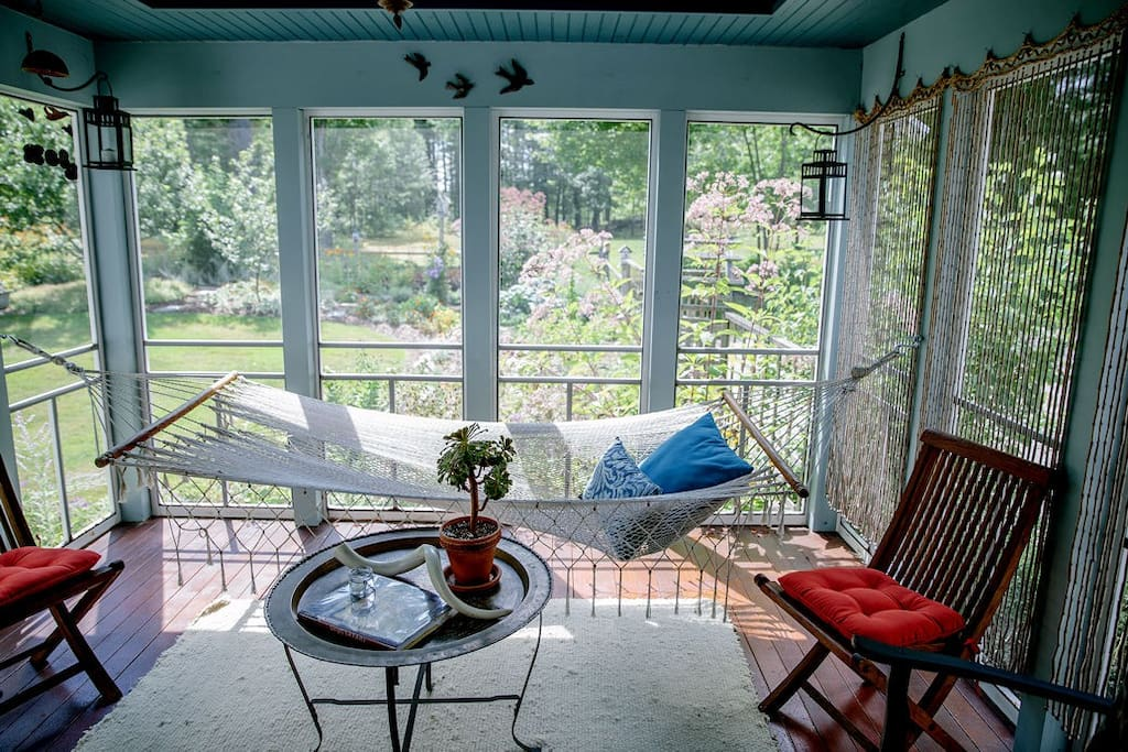 Screened porch - African theme
