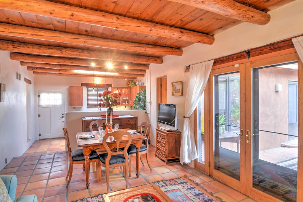 This authentic adobe style home is filled with wood accents and Southwest decor.