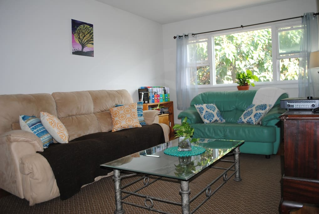Clean shared living room space.