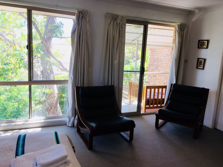 Large main bedroom with ensuite and private verandah. On clear days views of Mt Warning