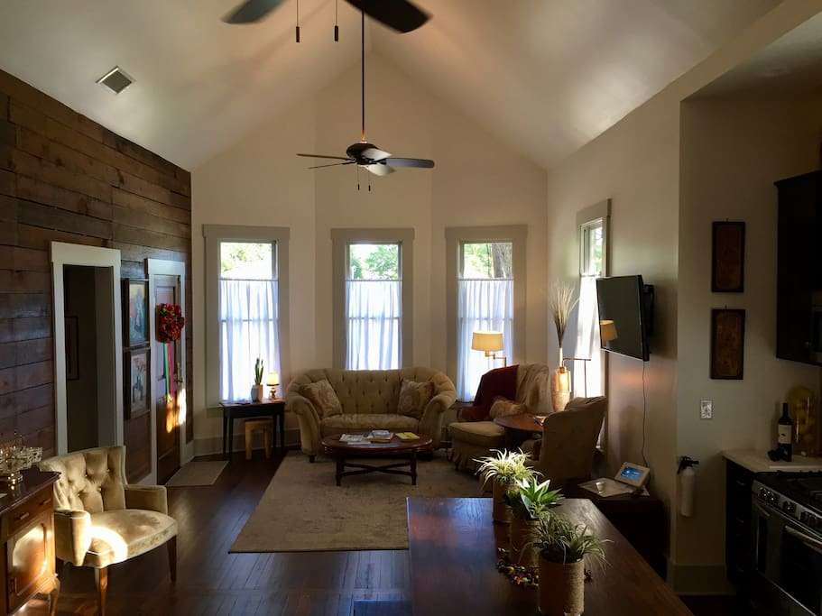 The living area of the cottage is open and airy.