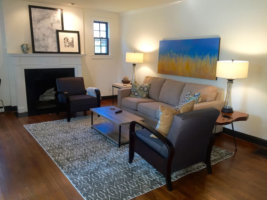 The den is equipped with HD TV and inviting furniture.  WIFI available throughout the house. This sofa converts to a queen size bed if extra beds are needed.