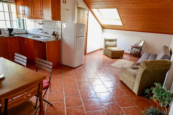 Ceiling window open for beautiful light and fresh air and a kitchenette for meal preparation.