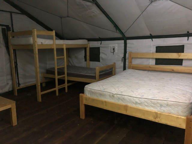 Queen and bunk beds