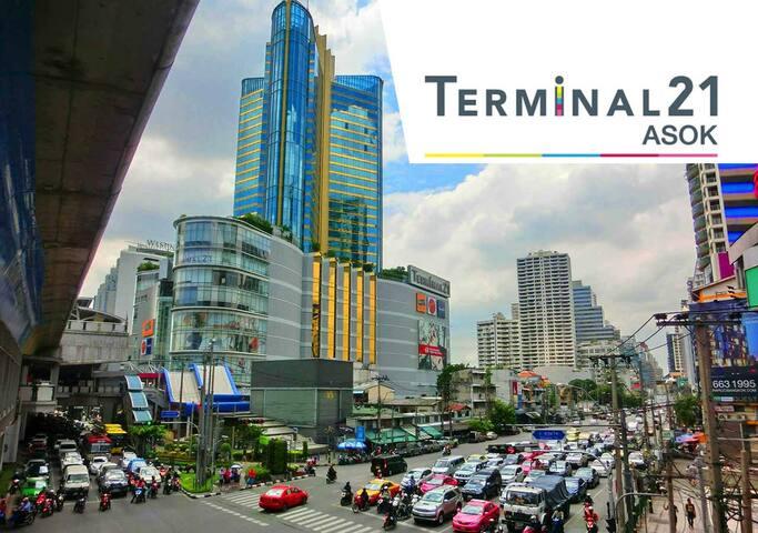 2min to Asoke, Terminal21! Family friendly! Safe!