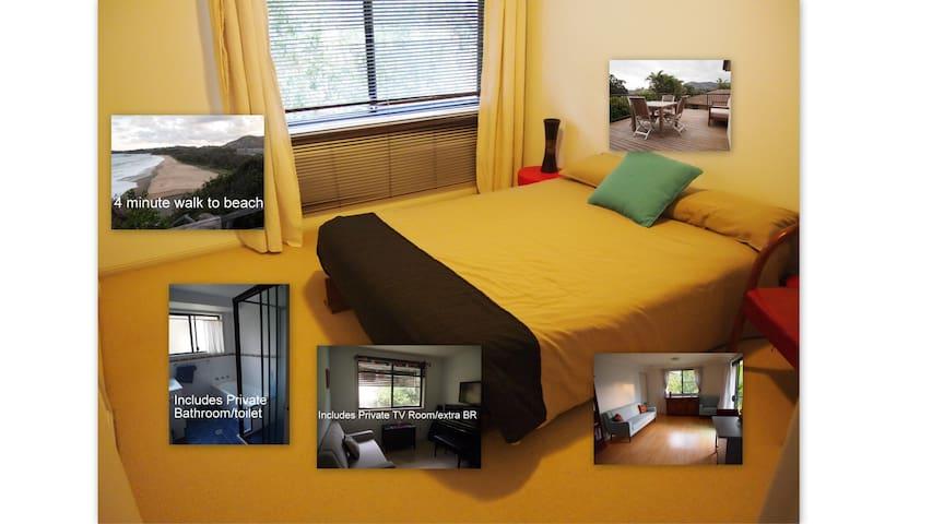Double bedroom, TV room & bathroom. Near Beach.