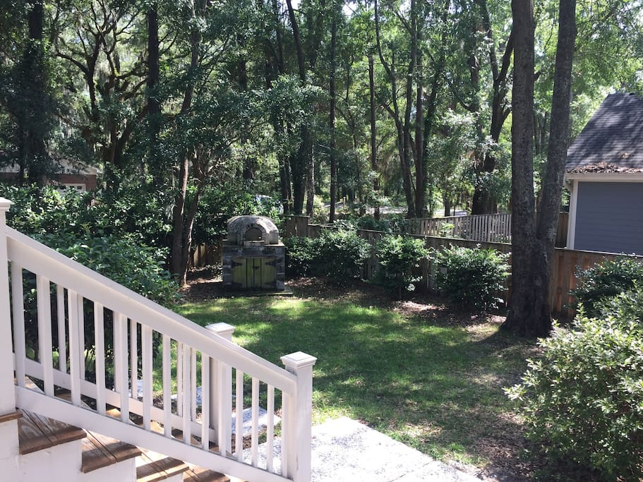 Fenced backyard for privacy and safety. Perfect for guests with dogs!