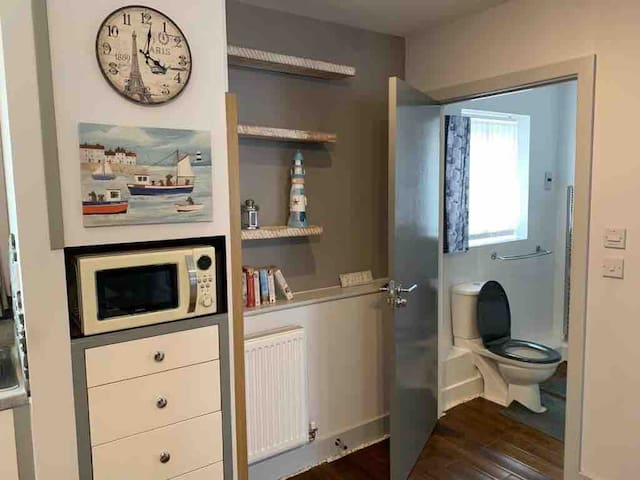 Microwave oven and entrance to the bathroom