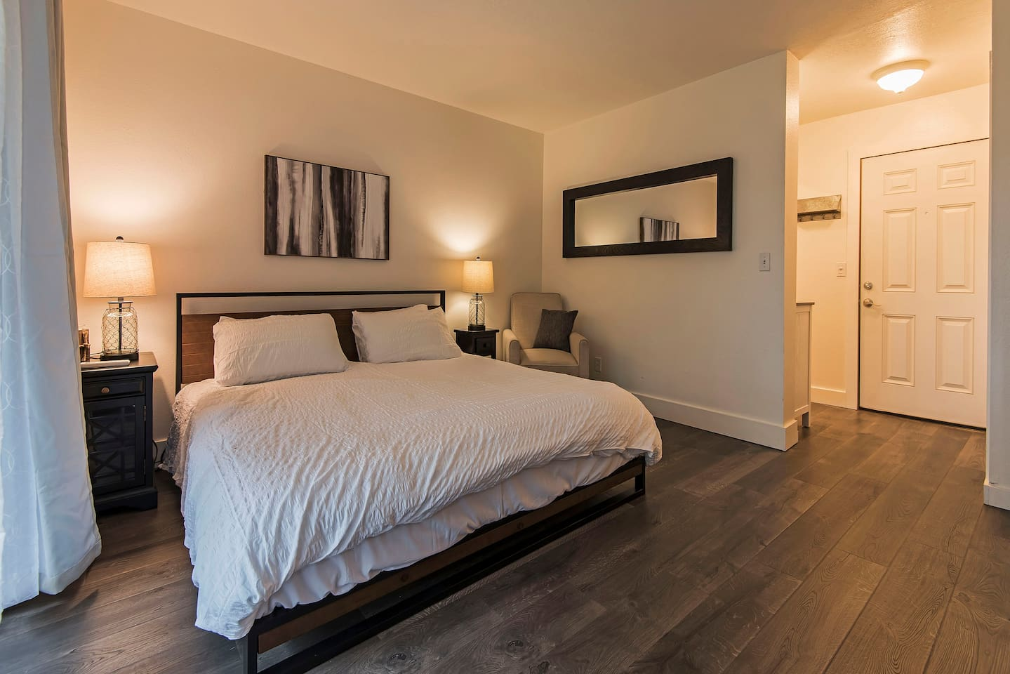 King size bed with Private full bath and balcony. Perfect place to relax at the end of a fun filled day.