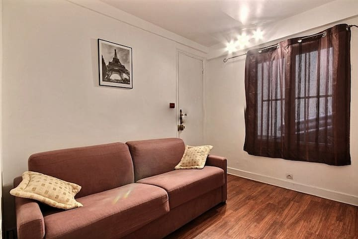 Living: The 8 square meters living room has a double glazed window facing courtyard . It is equipped with : dining table for 4 people, double sofa bed, cable, TV, phone, desk, hard wood floor.
