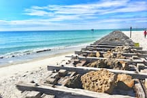 The end of Coquina Beach- a 5-7 min walk from Dream Away