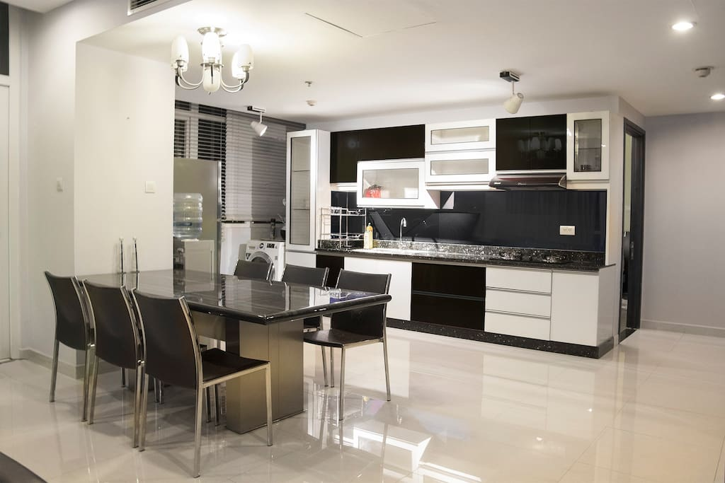 Your dining table and kitchen