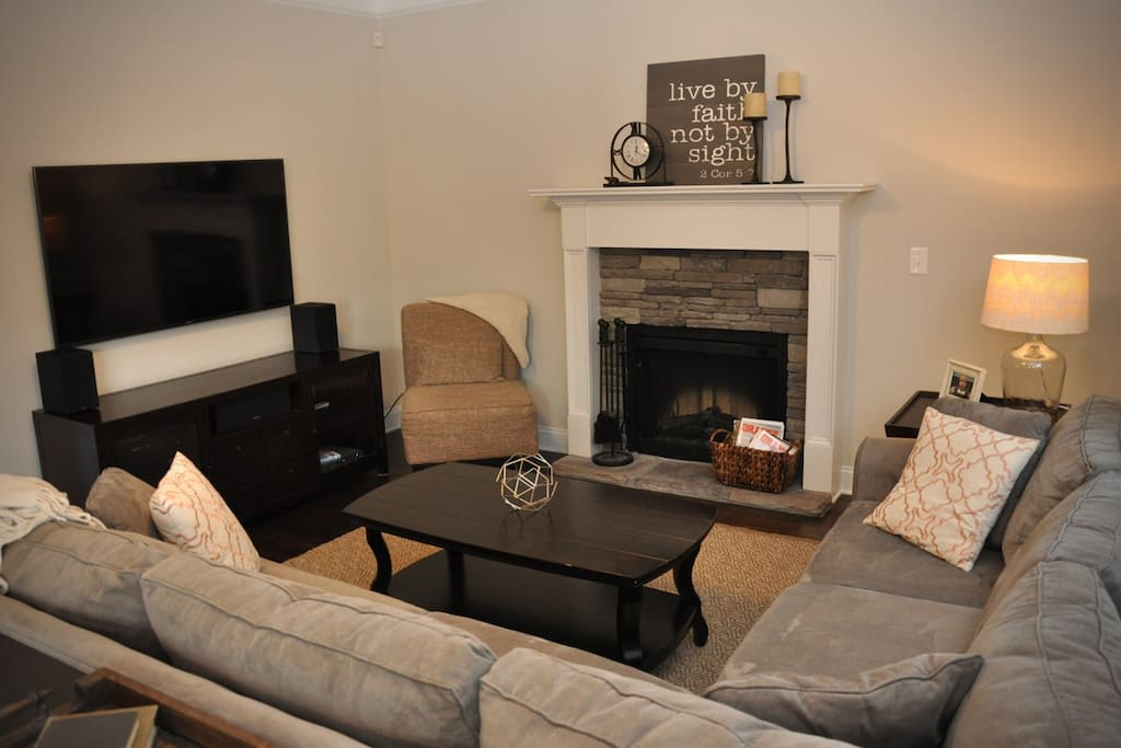 "Living Room with 60"" tv (with DirecTV, AppleTV, DVD, Stereo)"