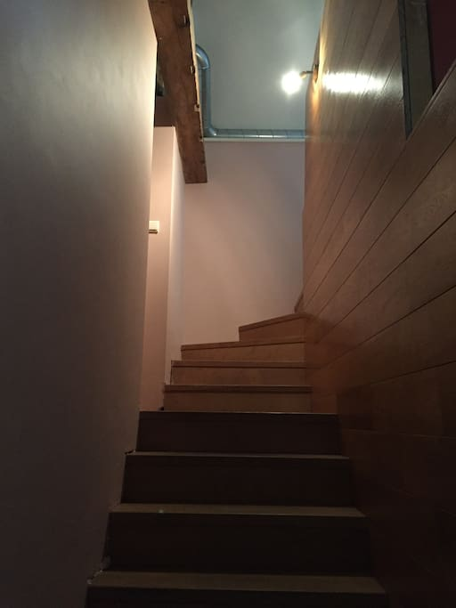 Beautifully done wood work and freshly painted peaceful staircase