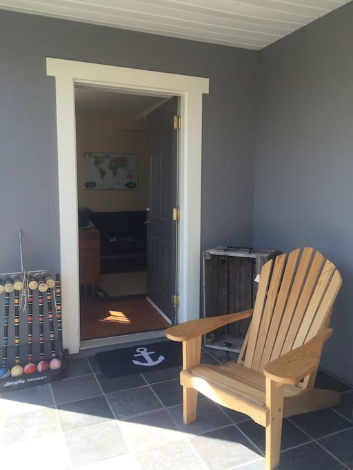 Separate locked entrance into guest suite. (Has a number keypad for easy entry/exit.)