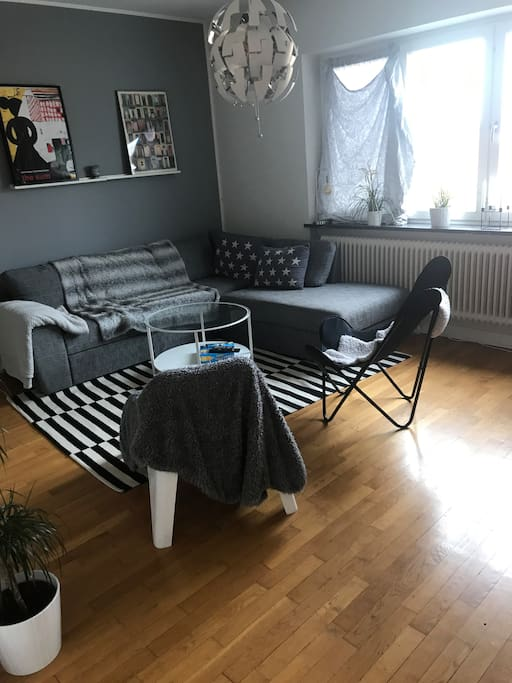 Living room with tv and ps4 and sofa bed for 2 people