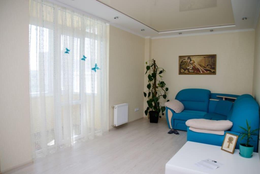 Свободной планировки гостиная, где находится телевизор и выход на балкон. Диван комфортно раскрывается