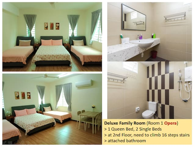 Room 1 (2nd floor, 16 steps stairs) : 1 Queen bed, 2 Single beds, attached bathroom