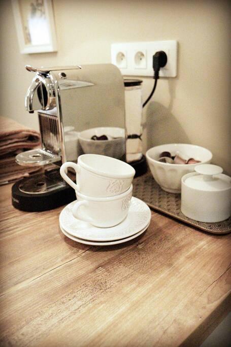 Coffee machine and plenty of coffee.