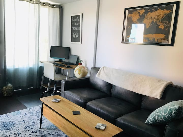 New one bedroom condo with desk space by the river