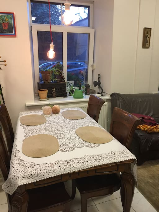 Big table between kitchen and common area