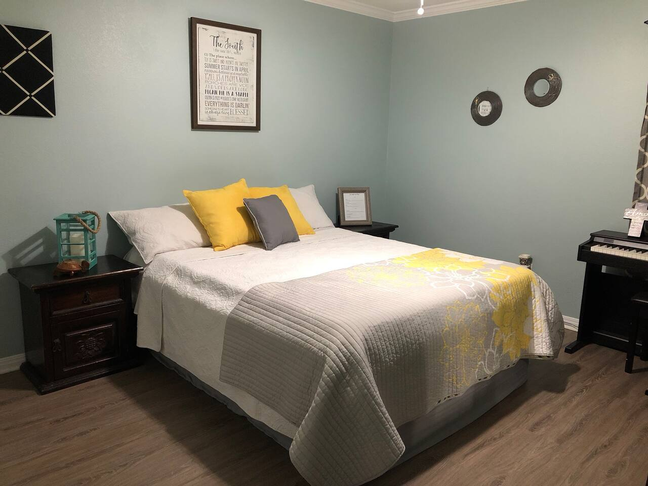Comfortable and peaceful queen size+ bed for your stay.