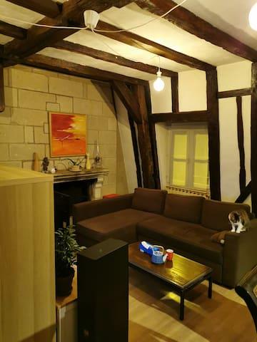 Canapé-lit dans le salon de notre charmant duplex