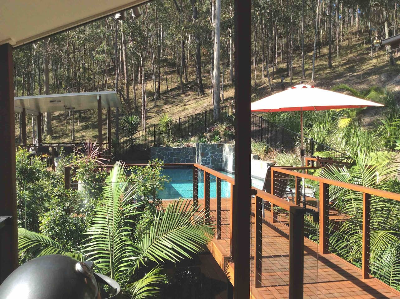 Outdoor pool area and bushland
