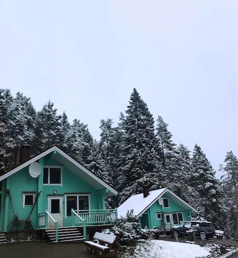 Уютный дом с камином  около леса с видом на Ладогу