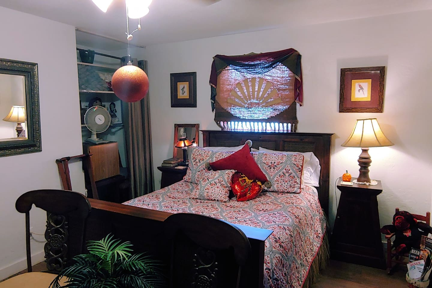 Warm and inviting Red Room cozy and full of Whimsy perfect place for a honeymoon retreat or a quiet weekend with a book