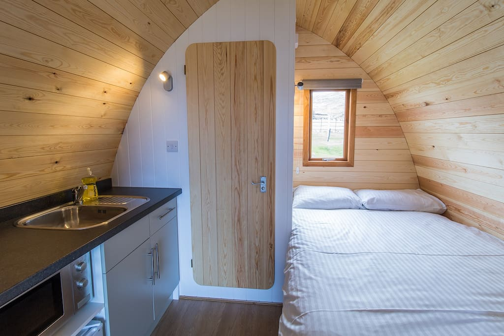The kitchen and bed area in the Pod