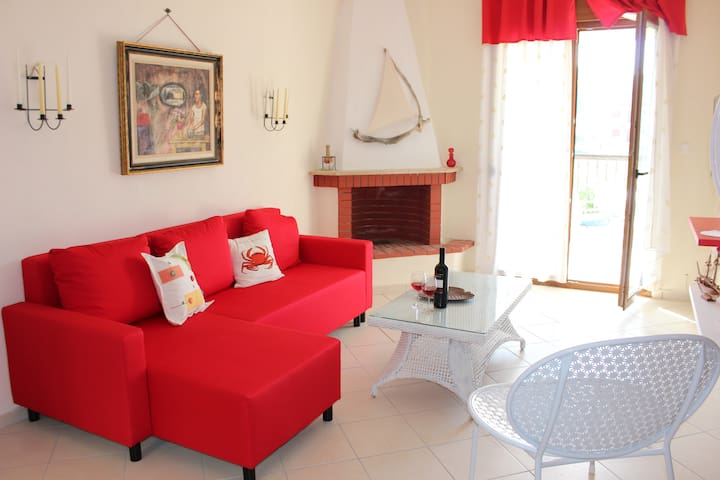 the living room in red & white