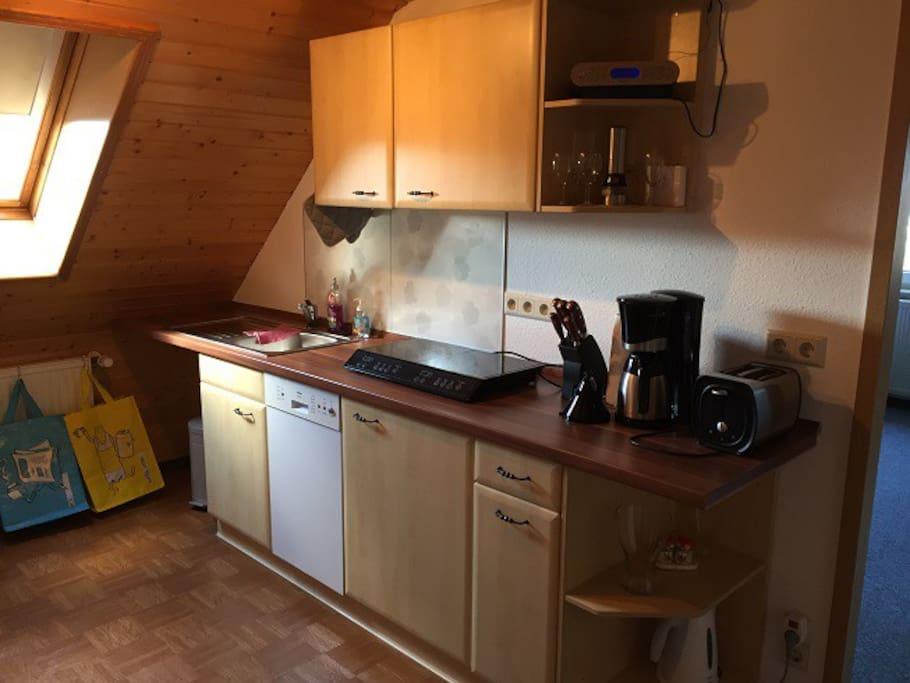 Eigene Küche mit Induktionskochstelle, Kühlschrank, Geschirrspüler...