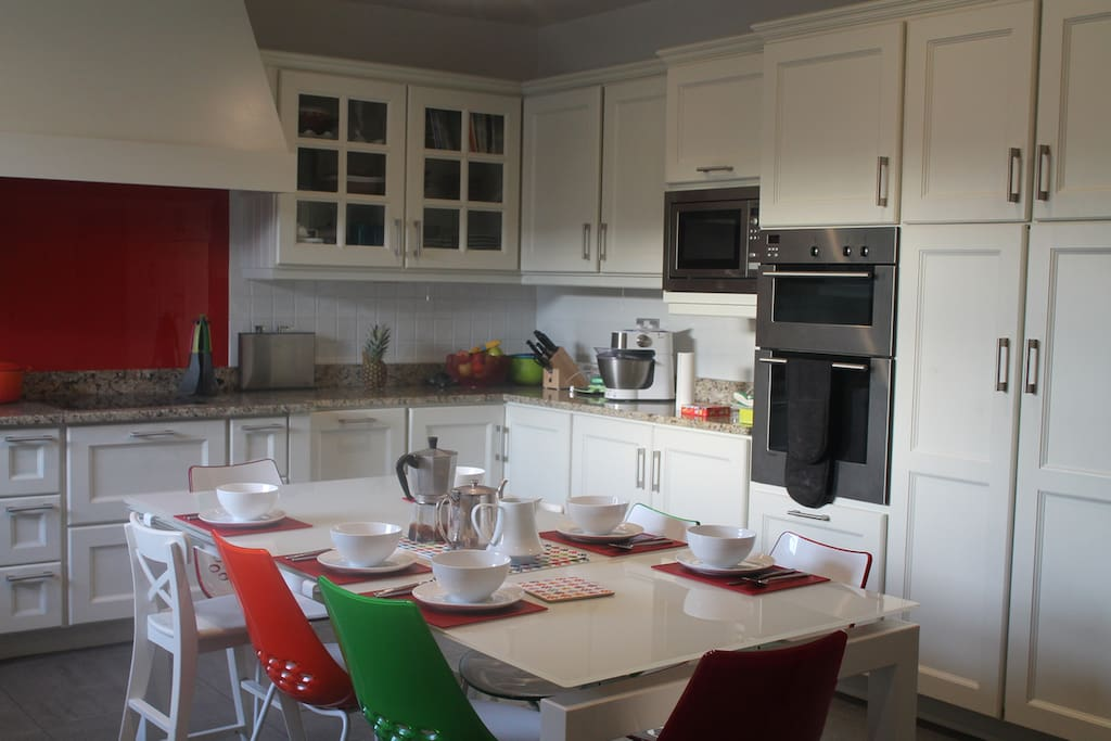 Ours is a bright large kitchen.