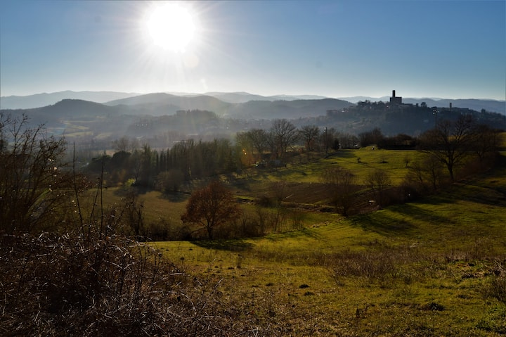 Villa with view of the Poppi castle, Tuscany