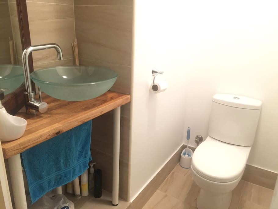 Soft close toilet, Bali basin and separate guest bathroom.