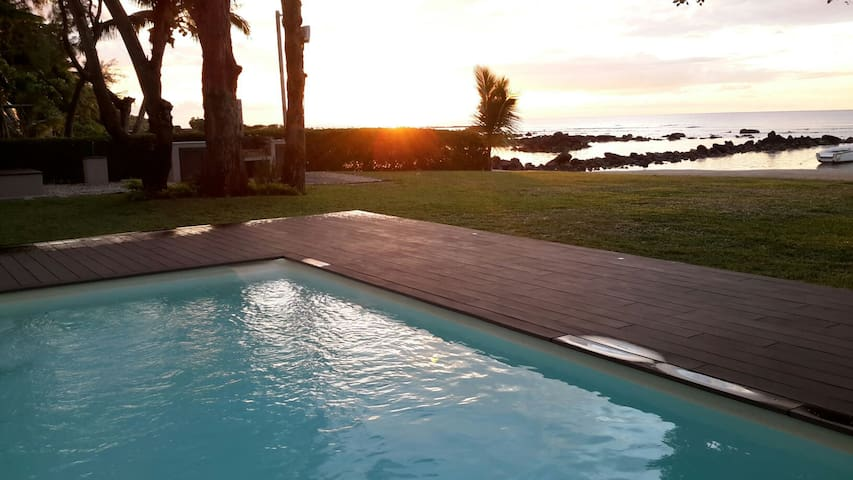 Sunset by the pool