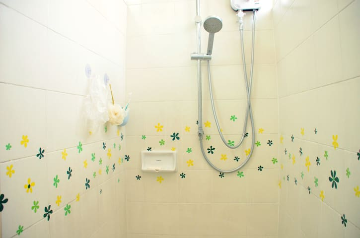 shower room with hot water