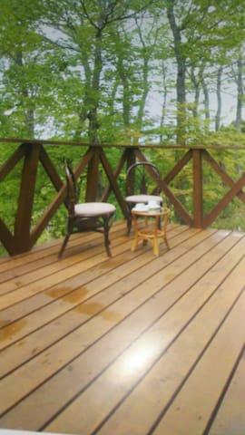 ウッドデッキ、現在はテーブルと椅子があり、緑の林を眺められますよ。