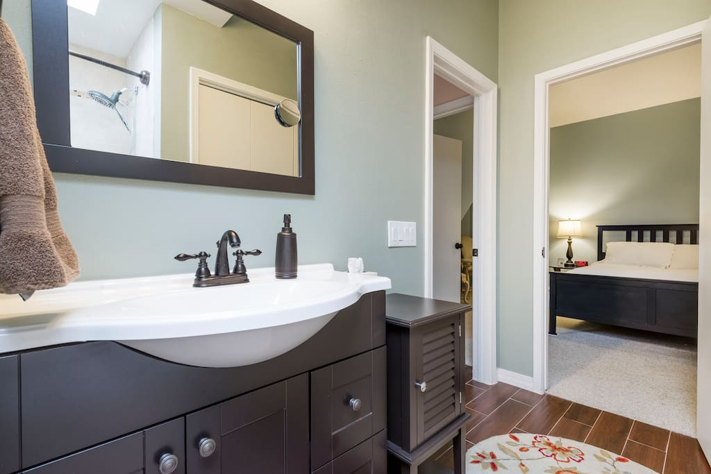 Private bath access from bedroom or front entry