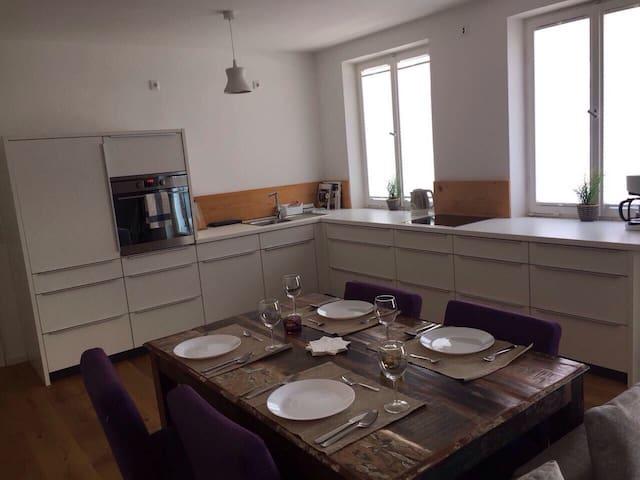 Gemütliche Wohnung mit Kamin und Dachterrasse!!! - Augsburg - Appartement