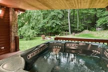View from the Hot tub of backyard.