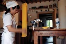 Our cook prepare lasagne