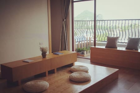 白鸟:漓江边可看漓江、山景的安静旅舍标间(双床间) - Guilin - Daire