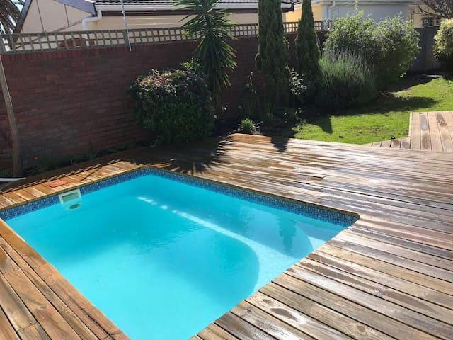 Solar Heated Plunge Pool with wooden deck