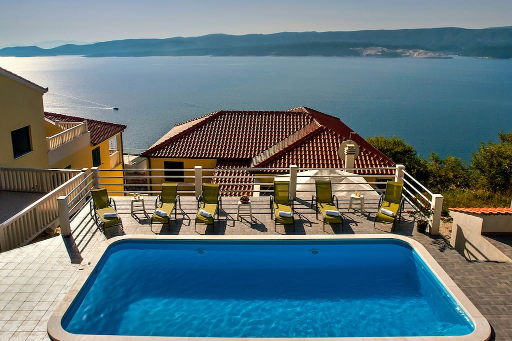 Pool area with great view on the adriatic sea