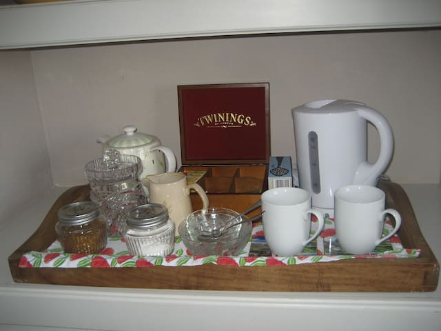 Complementary tea, coffee and biscuits in room