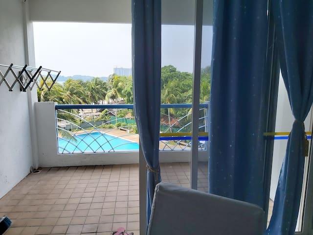 Condo seri bulan, Port Dickson, beach & pool view