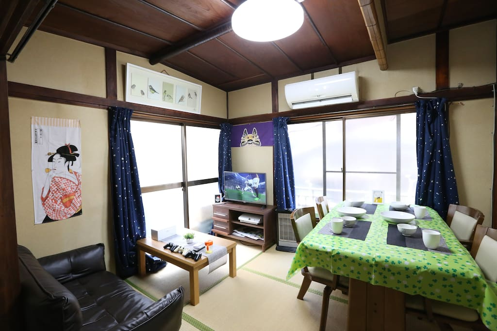 Living room and dining space in 1st floor. A mix of Western and Traditional Japanese style room.